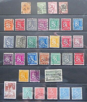 Stamps, FINLAND, 1889-1956, 34 used stamps, all different, good condition