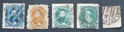 Stamps, BRAZIL, pre 1900, 5 used stamps