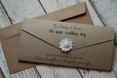 Personalised Wedding Money Gift Wallet with envelope