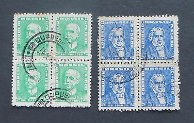 Stamps, BRAZIL, used 1960, 2 blocks of four