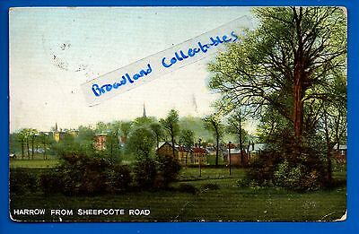 Old Postcard Harrow From Sheepcote Road London Middlesex Nr Wembley Stanmore