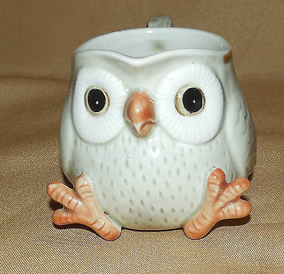 Vintage Brown Gray FITZ AND FLOYD Bird OWL Creamer