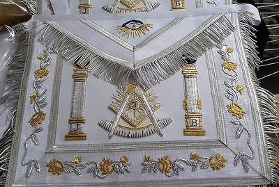 Hand Embroidered Masonic Regalia Past Master Apron White