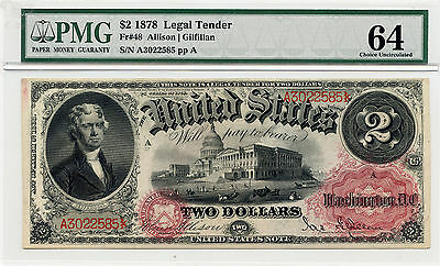 1878 $2 Legal Tender Note Fr. #48 Choice Uncirculated - PMG 64 -