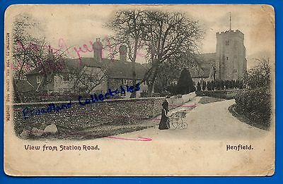 Old Postcard Henfield Horsham Sussex Nr Worthing Brighton - View From Station Rd