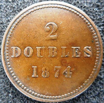 GUERNSEY -  2 Doubles 1874 (low mintage) ... (3535)