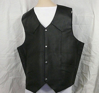 Men XL Rocky Mountain Black Solid Cow Heavy Leather Motorcycle Vest NWT