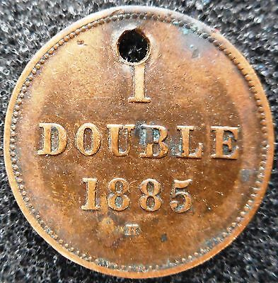GUERNSEY -  1 Double 1885H (holed) ... (3534)