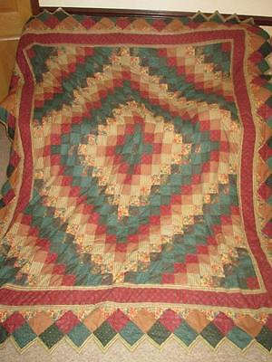 """Vintage Patchwork Quilted Throw Bed Cover Quilt Size W 88"""" x L 104"""""""