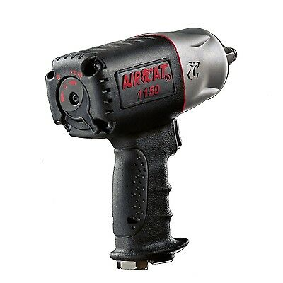 "Aircat 1/2"" Dr. Black Composite Twin Hammer Air Impact Wrench 1150 -"