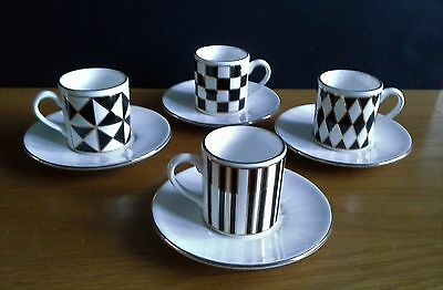 4 HORNSEA Coffee Cups & Saucers in the Lovely SILHOUETTE Pattern