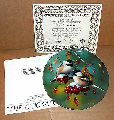 Chickadee Bird Design Knowles China Plate with Certificates