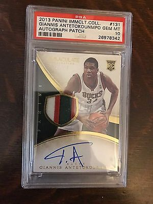2013 Panini Immaculate Giannis Antetokounmpo 4 Color Patch Auto RC  PSA 10 POP 3