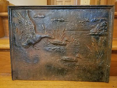 "Antique cast iron duck plaque sign fireplace brick insert architectural 20"" x 15"