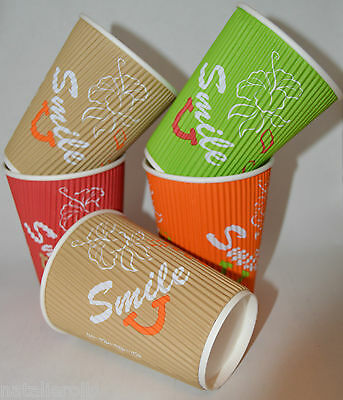500 12oz Coffee Cups  Ripple Disposable Paper Tea Coffee Takeaway Insulated Wall