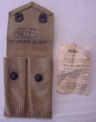1918 Mills Magazine Pouch For 2 Colt 1911 .45 Auto Magazines + Instruction Sheet