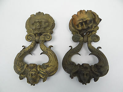 Brass Front Door Knockers Large Handled Old Man Parts Antique Old Metal