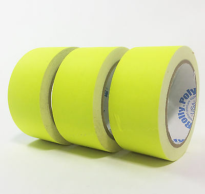 """Fluorescent Yellow Gaffers Tape - 3 rolls of 2"""" x 20YD - Rolly Poly"""
