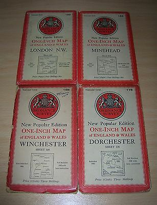 4x VINTAGE ORDNANCE SURVEY NEW POPULAR EDITION ONE-INCH MAPS - SHEETS 160, 164,
