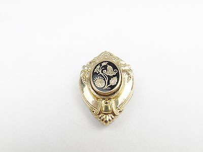 ANTIQUE VICTORIAN 9ct GOLD FILLED ENAMEL FRONT PIN BROOCH