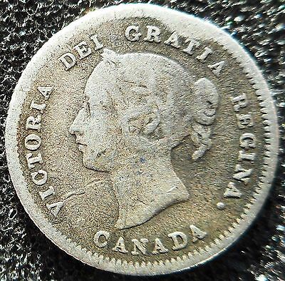 CANADA - Silver 5 Cents 1880H (1.1g/15.7mm) ... (3503)