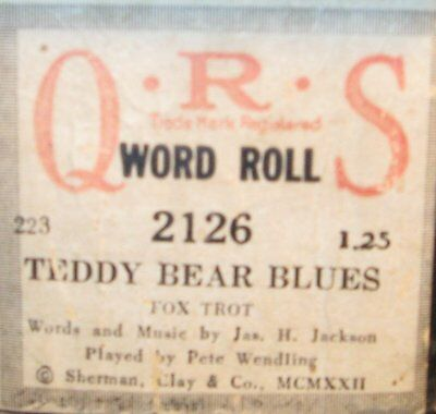 Teddy Bear Blues Played By Pete Wendling Original Old Piano Roll