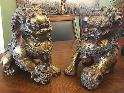 Antique Gilt Foo Dogs BEAUTIFUL PAIR!