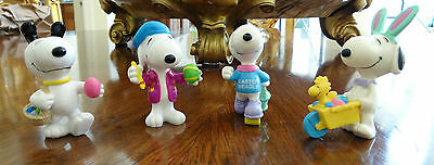 Four (4) Snoopy Easter Figures United Feature Syndicate Peanuts PVC
