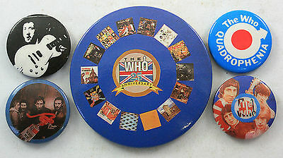THE WHO AND PETE TOWNSEND Button Badges 5 x Vintage The Who Pin Badges