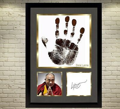 The hand of the Dalai Lama signed picture poster autographed photo With frame