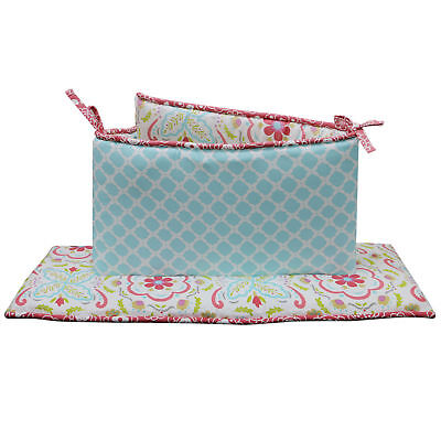 Mila 4 Piece Coral and Blue Floral and Ogee Baby Crib Bumper by Peanut Shell
