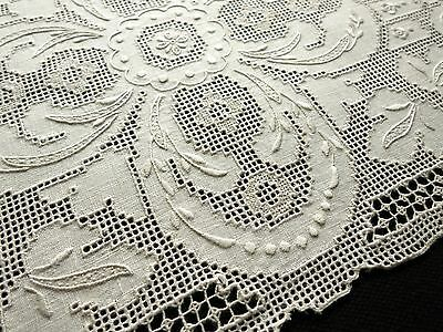 STRIKING Antique Italian Linen Set 8 Placemats HAND EMBROIDERY & HANDMADE LACE