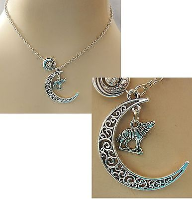 Silver Howling Wolf Moon Pendant Necklace Jewelry Handmade NEW Adjustable