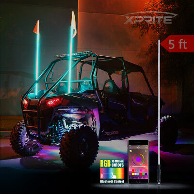 XPRITE 5FT RGB LED Bluetooth Controlled Whip Light and Flag for ATV UTV JEEP