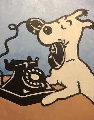 large hand painting of Snowy the dog & Telephone. Hergé/Tintin cartoon art blue