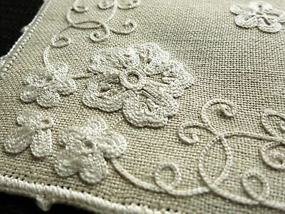 RARE French 25 pc Linen Placemat Set BEAUVAIS HAND EMBROIDERY Country Wedding