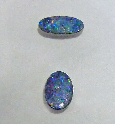 Opal doublet pair.No.13 Oval 8.5x6x2mm,Oval 12.5x4.5x2mm.Multicolor purples+fire
