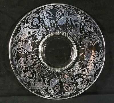 Vintage Sterling Silver Overlay On Glass Serving Plate 10.5 Inch Diameter NrMINT