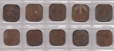Straits Settlement Malaya Currency Board 1 Cent Coins