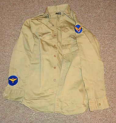 Vintage WW2 US ARMY REGULATION OFFICER'S SHIRT WITH PATCHES  Take a LOOK !!!!!!!
