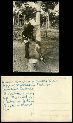 Singapore Old Real Photo Postcard Tamil Tapping Rubber Tree ONO I Dutch Method