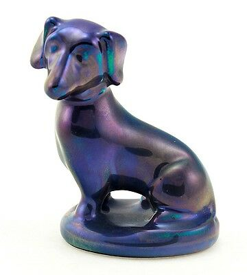 Zsolnay Purple Eosin Sitting Dachshund Figurine