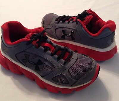 UNDER ARMOUR Boys Sneaker Tennis Shoes~size 12K~Grey-Red-Black Lace preown