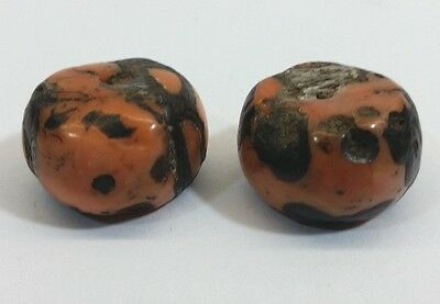 Rare Antique Matched Pair of Tibetan Mosaic Coral Beads - 11 Grams - C2B