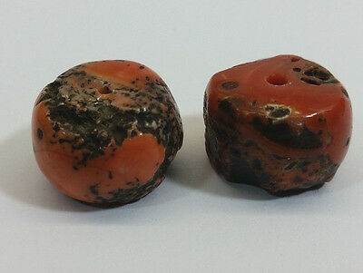 Rare Antique Matched Pair of Tibetan Mosaic Coral Beads - 14 Grams - C2A