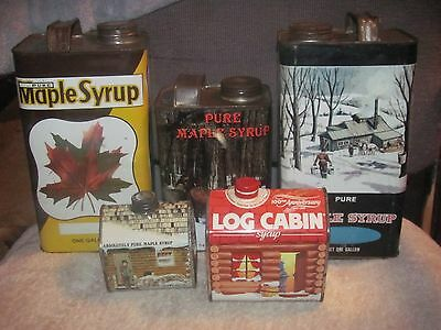 Lot of 5 Vintage Maple Syrup Tins !! Vermont Michigan Country Decor!!