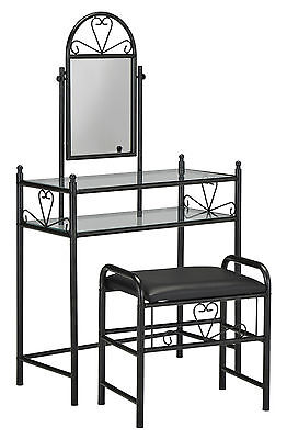 """Josette"" Collection 2-pc Vanity Set with stool in Black or White 553-870"