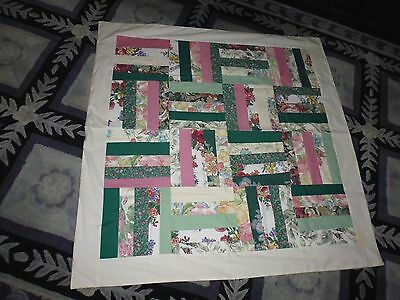 PATCHWORK QUILT HAND MADE 1100mm x 1100mm. Pinks & Greens main colors.