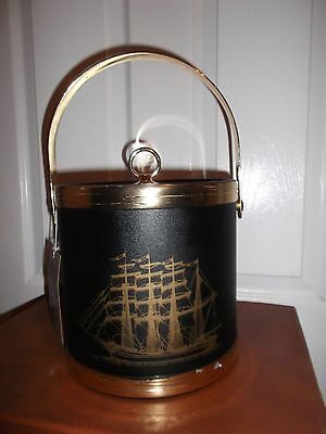 Vintage Ice Bucket Shelton-Ware Sailboat 1960 Black & Gold Plastic Retro Barware