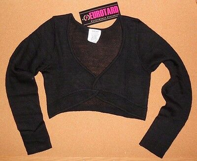 NWT EUROTARD 72519  Ladies Black Twist Front Crop Sweater Acrylic Knit Pullover